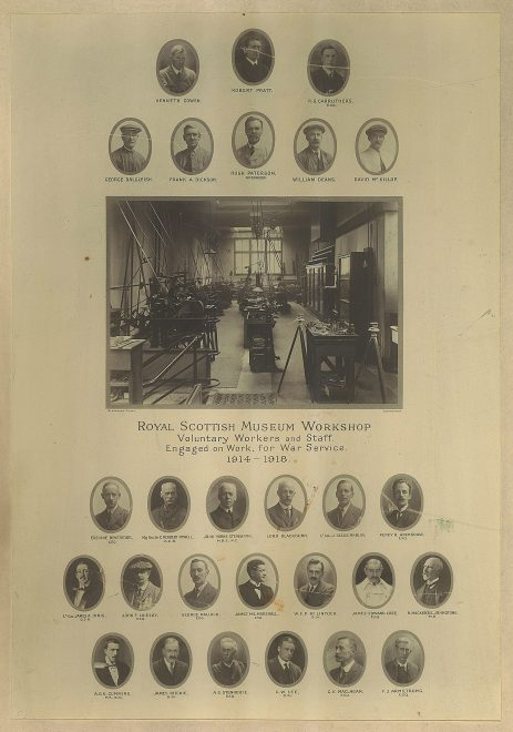 Commemorative photograph of staff from the Royal Scottish Museum Workshop. The 10 members of staff are Robert Pratt, George Dalgleish, Frank A. Dickson (Preparers), Hugh Paterson (Chief Mechanical Preparer and Overseer), William Deans (Attendant), David McKillop, Percy H. Grimshaw (then Assistant and later Keeper of Natural History), George Malloch, W. F. P. McLintoch (Assistant Geology Department) and James Ritchie (then Assistant and later Keeper of Natural History).