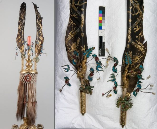 Plume and feather attachments after conservation.
