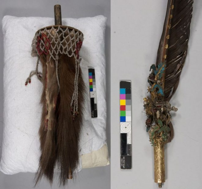 The plume attachment for the helmet with close up of the feather and diancui before conservation.