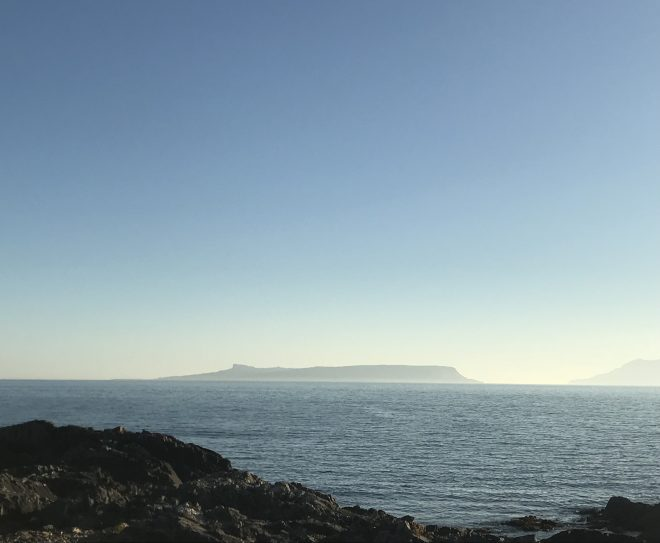 The view across to Eigg.