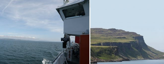 View from the ferry of the Eigg cliffs.