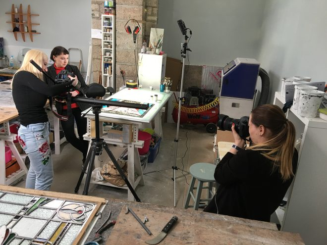 Setting up video and photography equipment at Pinkie Maclure's studio in Perthshire for fi;ming on location for the Art of Glass exhibition.