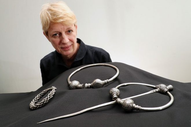 Silversmith Simone ten Hompel with items from the Skaill Hoard