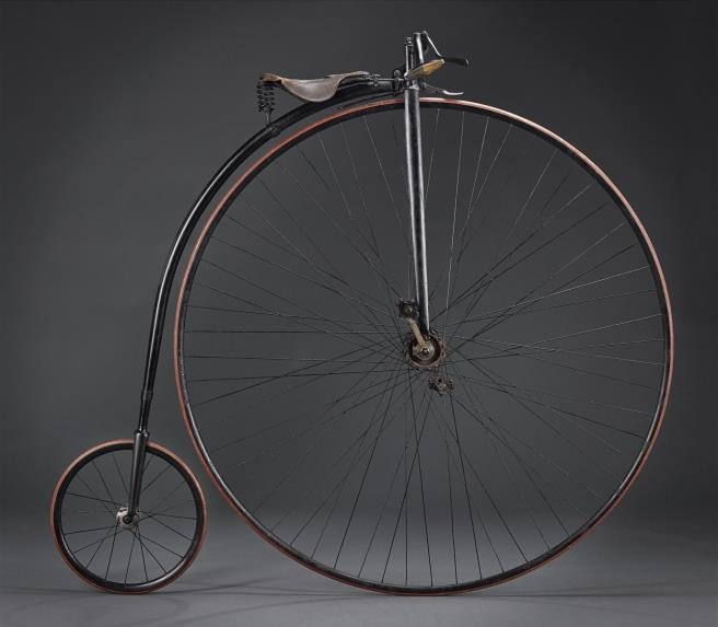 Rudge ordinary bicycle made about 1884, with a steel tube frame and Penny Farthing wheel arrangement