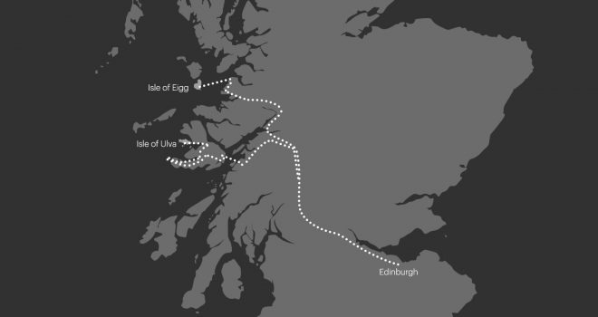 map showing the route taken by Luke and the film crew