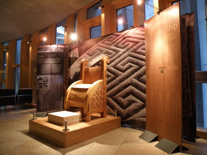 The Pictish throne recreated for the Glenmorangie Research Project on display at the Scottish Parliament.