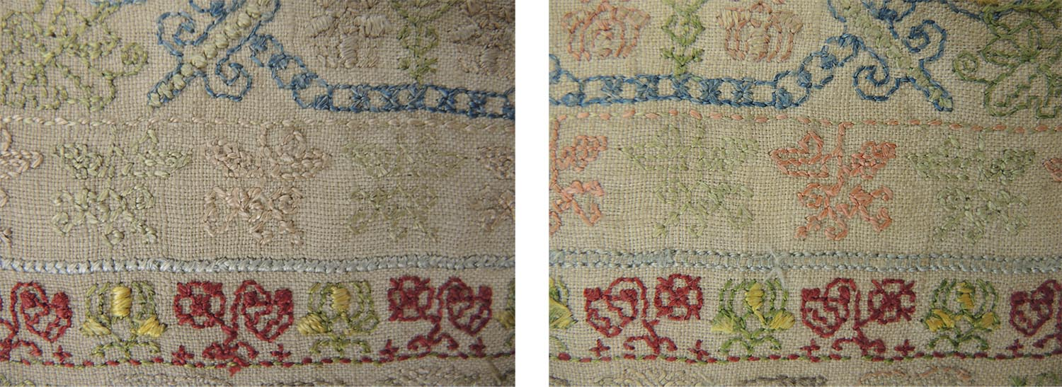 Some of the colours on this sampler are faded on the front (left) from exposure to light. The colours on the reverse have not been exposed and are un-faded. (right) © Leslie B. Durst Collection
