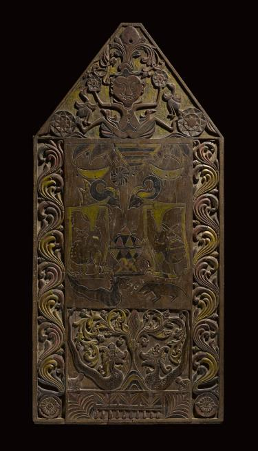 Carved wooden panel from Java, Indonesia