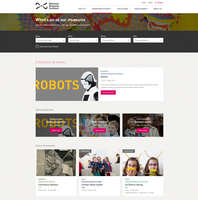 The new Exhibitions & Events landing page