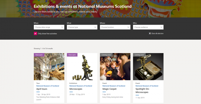 Exhibitions & Events filters
