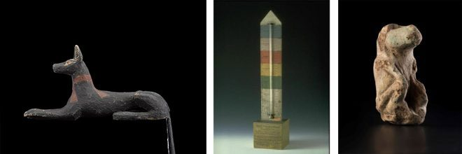 A selection of the objects from Scotland's National Collections going on display as part of Discovering Ancient Egypt: a guardian jackal, Charles Piazzi Smyth's thermometer for the 'Great Pyramid Temperature Scale' and a faience baboon.