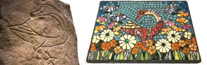 Left: Pictish stone symbol. Right: Goose Meadow mosaic by artist Katy Galbraith
