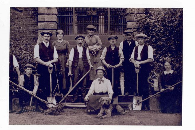 Mary E. Burton with her team of gardeners, c.1914 Sourced and reproduced with permission of Midlothian Council and Local Studies Archive.