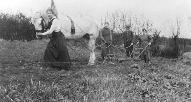 Ploughing was one of the many activities undertaken by the gardening school's students, c.1916. Sourced and reproduced with permission of the McIntyre family.