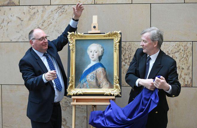 Unveiling the portrait of Prince Charles Edward Stuart.