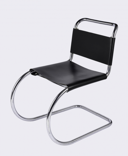 Chair of chromium-plated, tubular steel: German, probably Gebrüder Thonet, c. 1930, designed by Mies van der Rohe, 1927