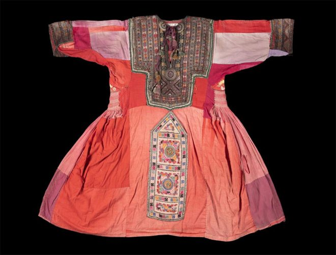 Woman's dress embroidered panels on the front, Iran, Makran, Baluch, early - mid 20th century