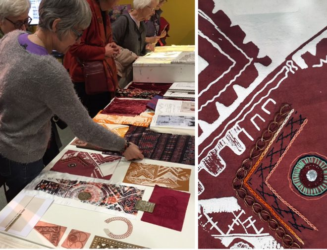Presenting student textile samples at the Edinburgh Iranian festival