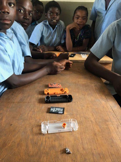 Working with school children in Zambia.