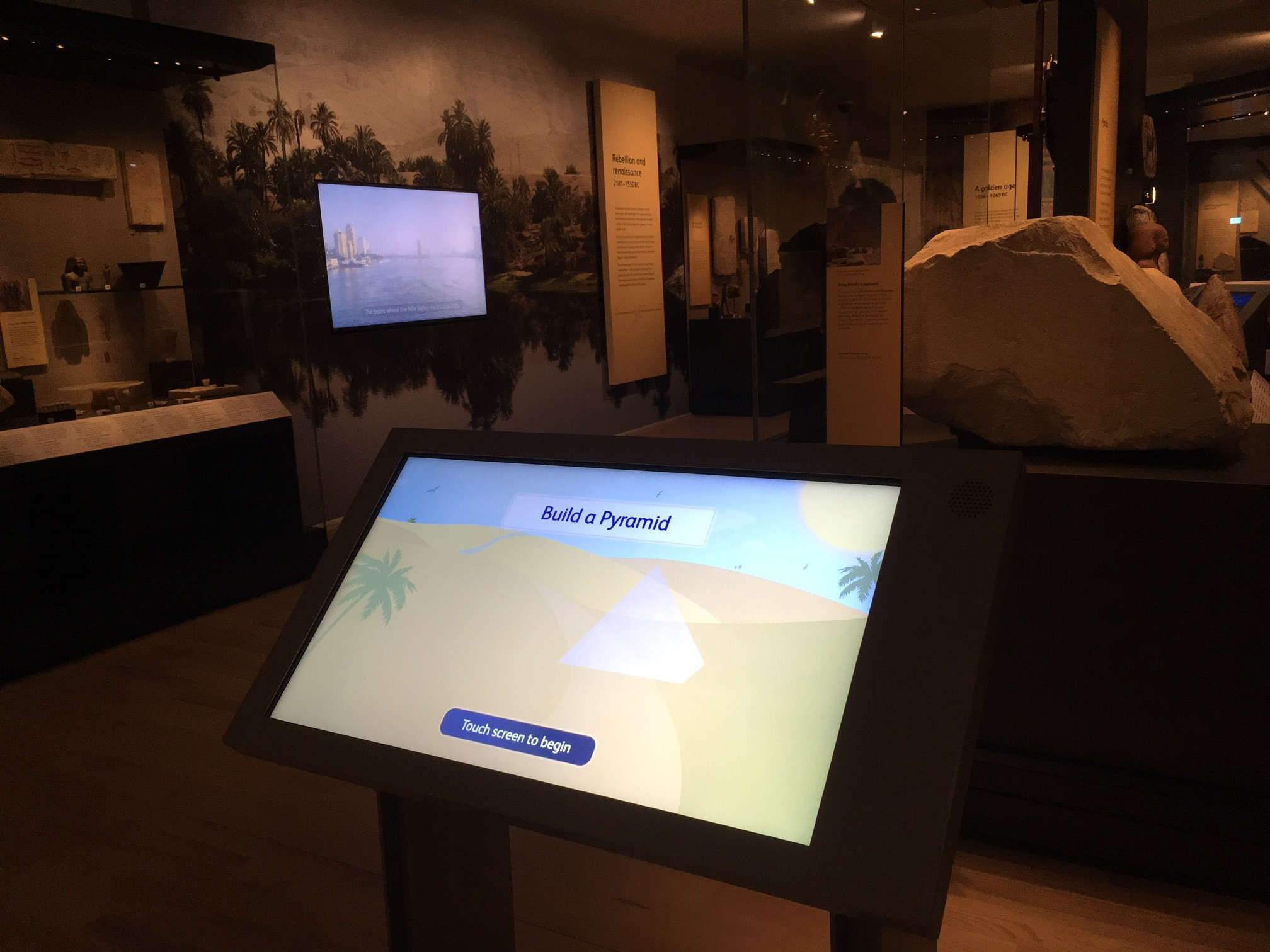 Build a pyramid interactive in the ancient Egypt gallery