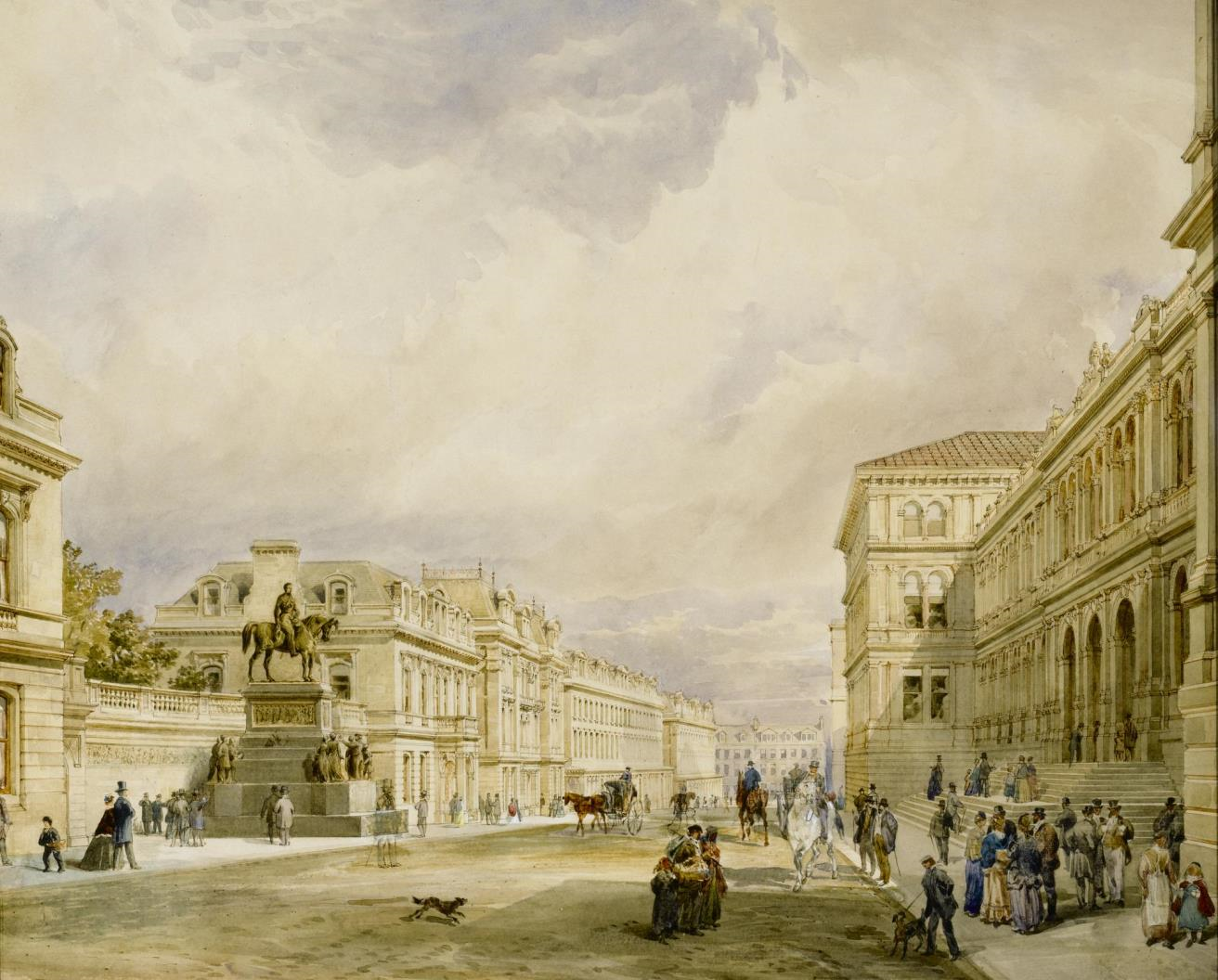 Watercolour of the eastern half of Chambers Street showing the Museum of Science and Art, and the Prince Consort's memorial, in a gilt frame: Scottish, Edinburgh, by David Cousin, figures by Sam Bough, c. mid 19th century