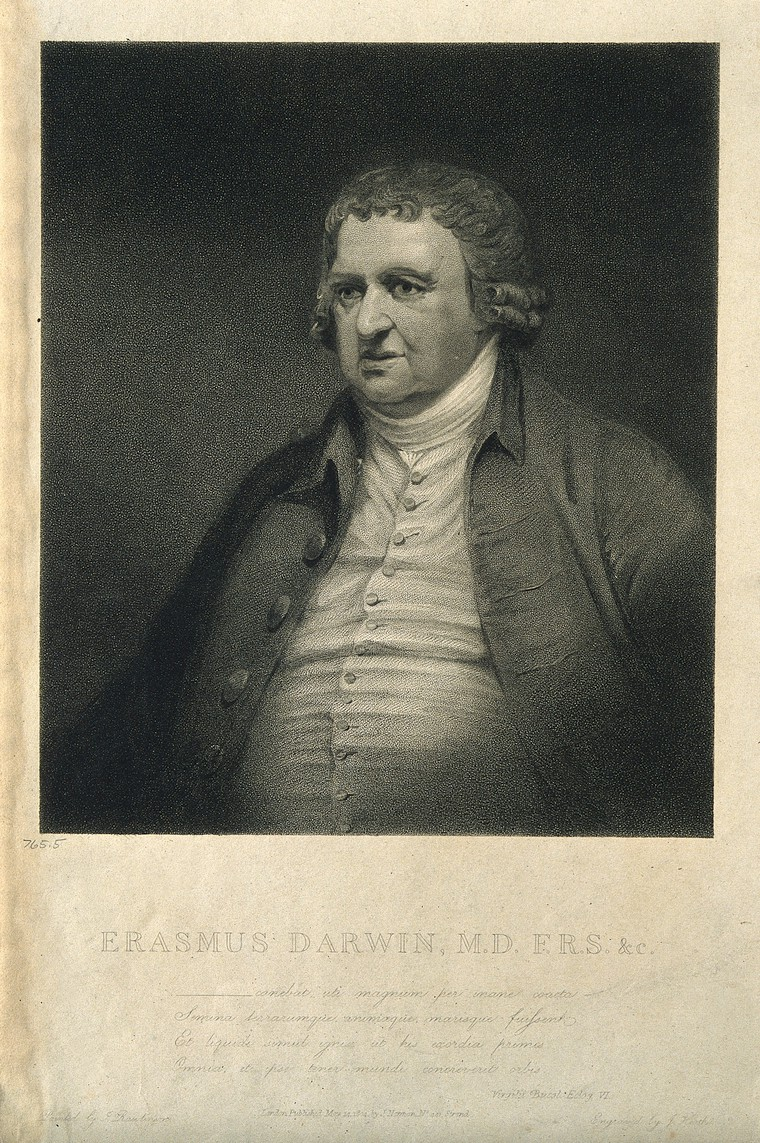 Erasmus Darwin. Stipple engraving by J. Heath, 1804, after J. Rawlinson. Credit: Wellcome Collection. CC BY