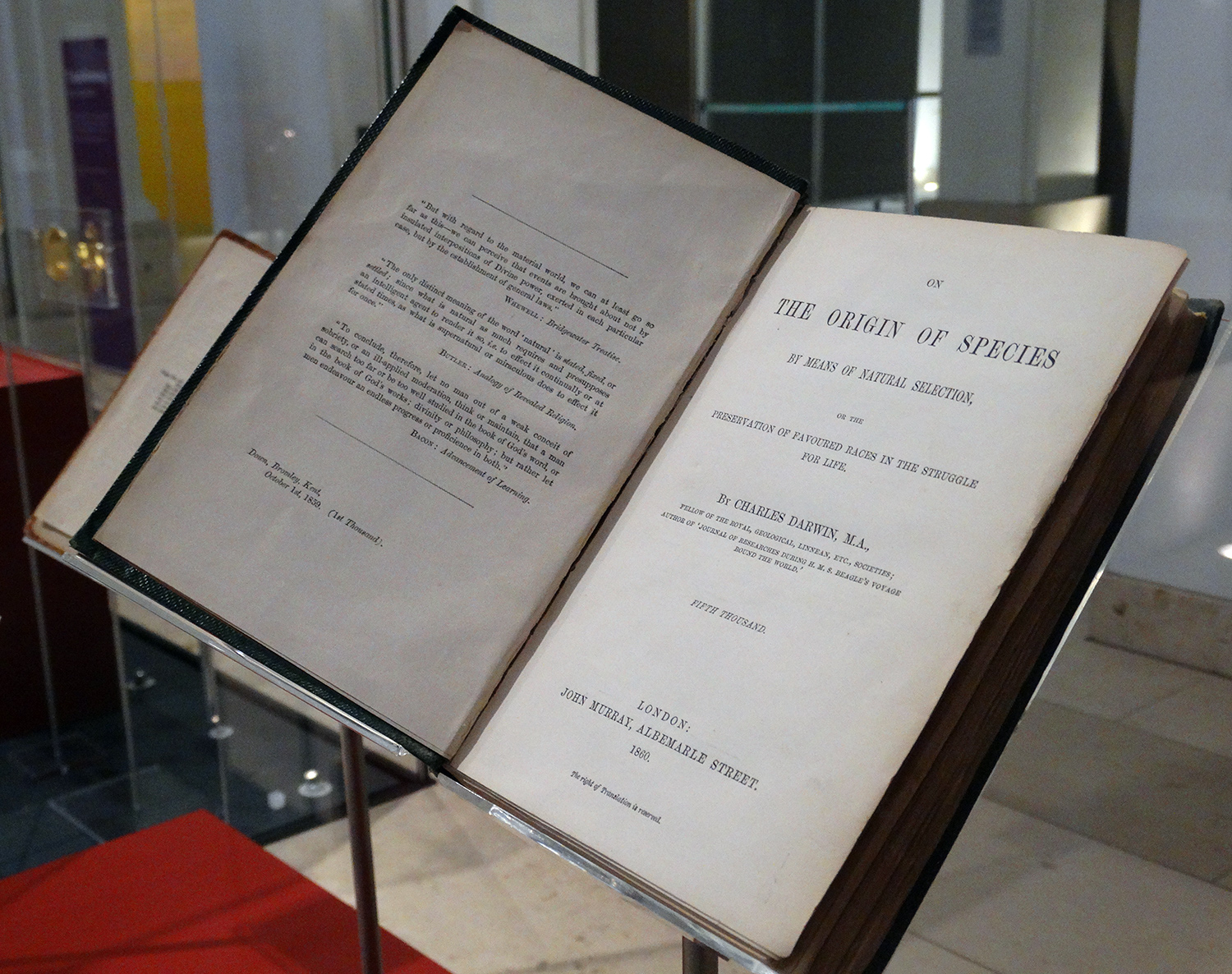 A second edition of On the Origin of Species by Charles Darwin, published by John Murray, London, 1860. This is display in our Discoveries gallery at the National Museum of Scotland.
