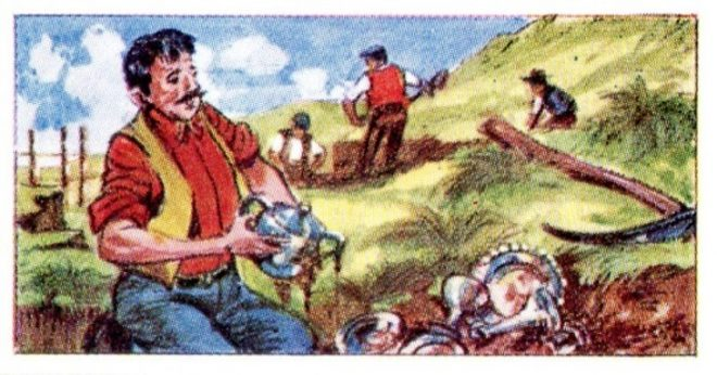 An imaginative reconstruction of the find, on a sweetie card from 1964