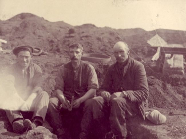 The workmen the day after the discovery: from the left, Johnnie, Pringle and Young. (Courtesy of the Curtis family).