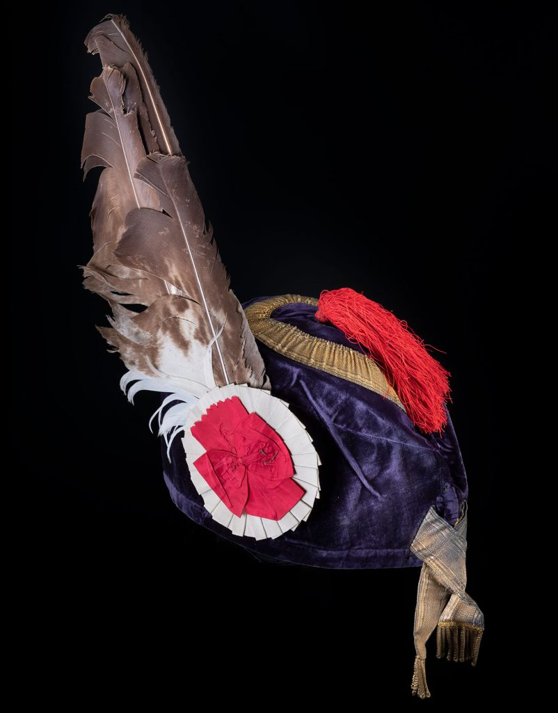 Blue velvet Glengarry bonnet of Ranald George Macdonald, 20th chief of Clanranald, similar to costumes worn at the Eglinton tournament ball.