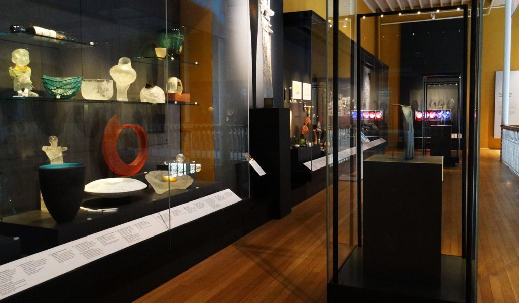 A selection of pieces from The Dan Klein & Alan J. Poole Private Collection of Modern Glass on display in the Making & Creating gallery at the National Museum of Scotland.