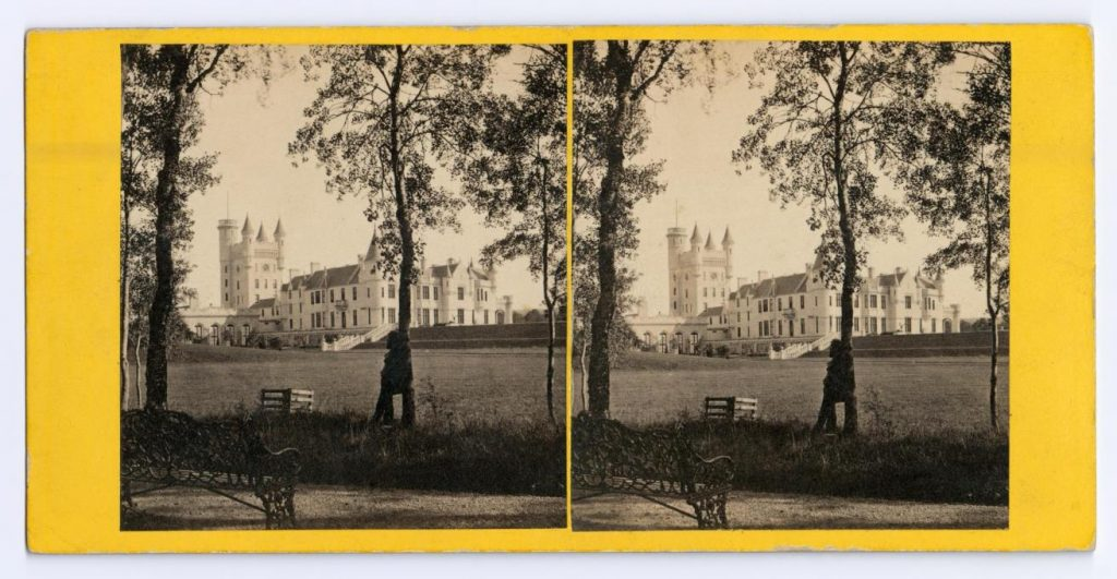 Stereocard depicting Balmoral Castle from the North West, by George Washington Wilson & Co., Aberdeen, 1863.