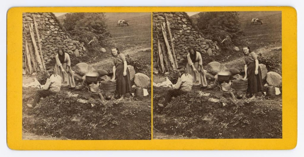 Stereocard entitled 'A Highland Washing' depicting a family washing outside a thatched cottage, by James Valentine, Dundee, c. 1870.