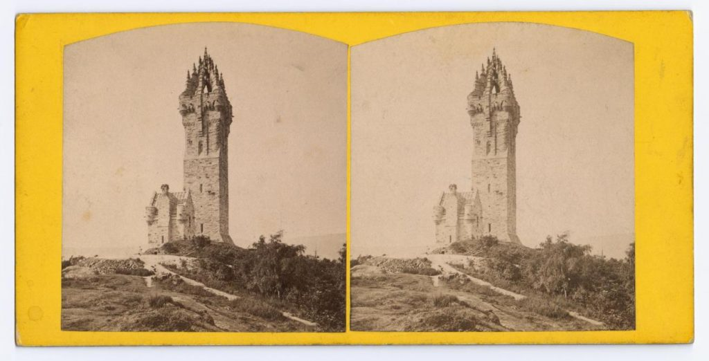 Stereocard depicting the National Wallace Monument, by Alexander Crowe, Stirling.