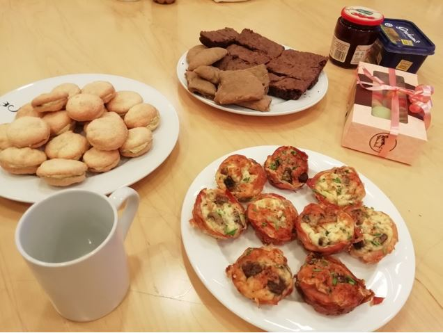 The snacks from the meeting. I made brownies and treacle scones
