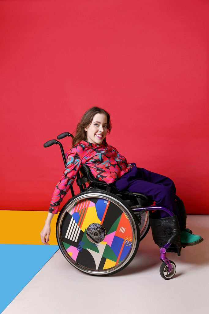 Izzy modelling wheels by Hola Lou. Photo by Sarah Doyle.