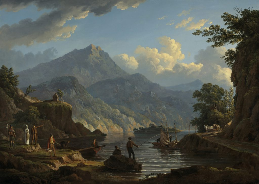 John Knox, 'Landscape with Tourists at Loch Katrin', oil on canvas, 1815, on display in the Wild and Majestic exhibition © National Galleries of Scotland.