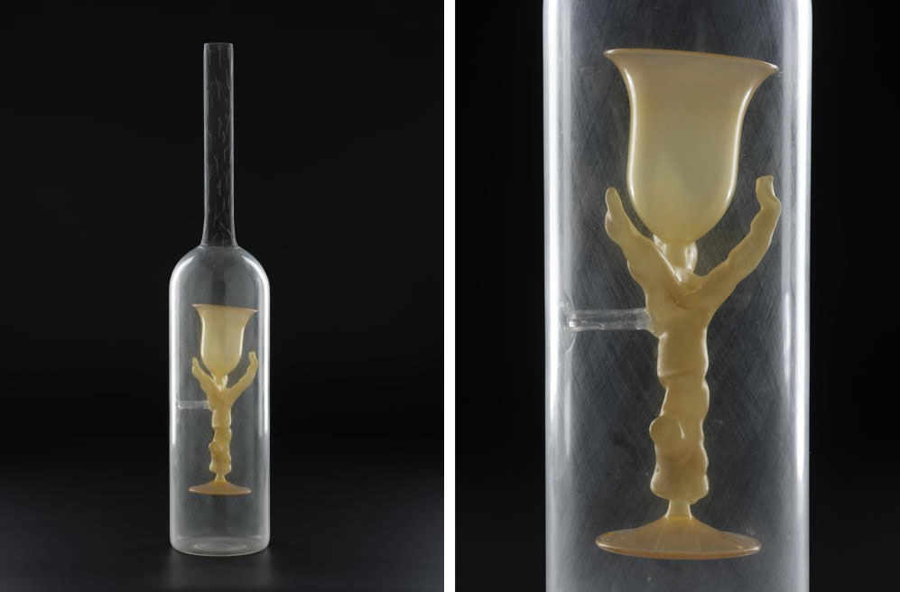 'Branch', borosilicate glass bottle containing a suspended goblet on a branch like form with glass enamel and metallic lustre decoration: The Netherlands, by Richard Meitner, assisted by Edwin Dieperink, c. 1995 – 1996 (K.2011.60.79)