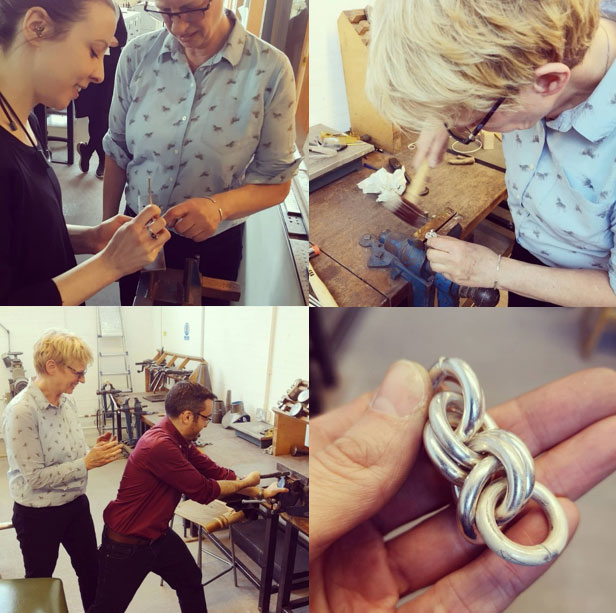 The Silver Knowledge Exchange Workshop at Glasgow School of Art, from left to right: Sarah Rothwell, Curator, Modern & Contemporary Design with Simone ten Hompel, Simone showing us how it should be done; encouraging Dr Adrian Maldonado in drawing silver; and the finished chain of rings, and only a twice hammered thumb.