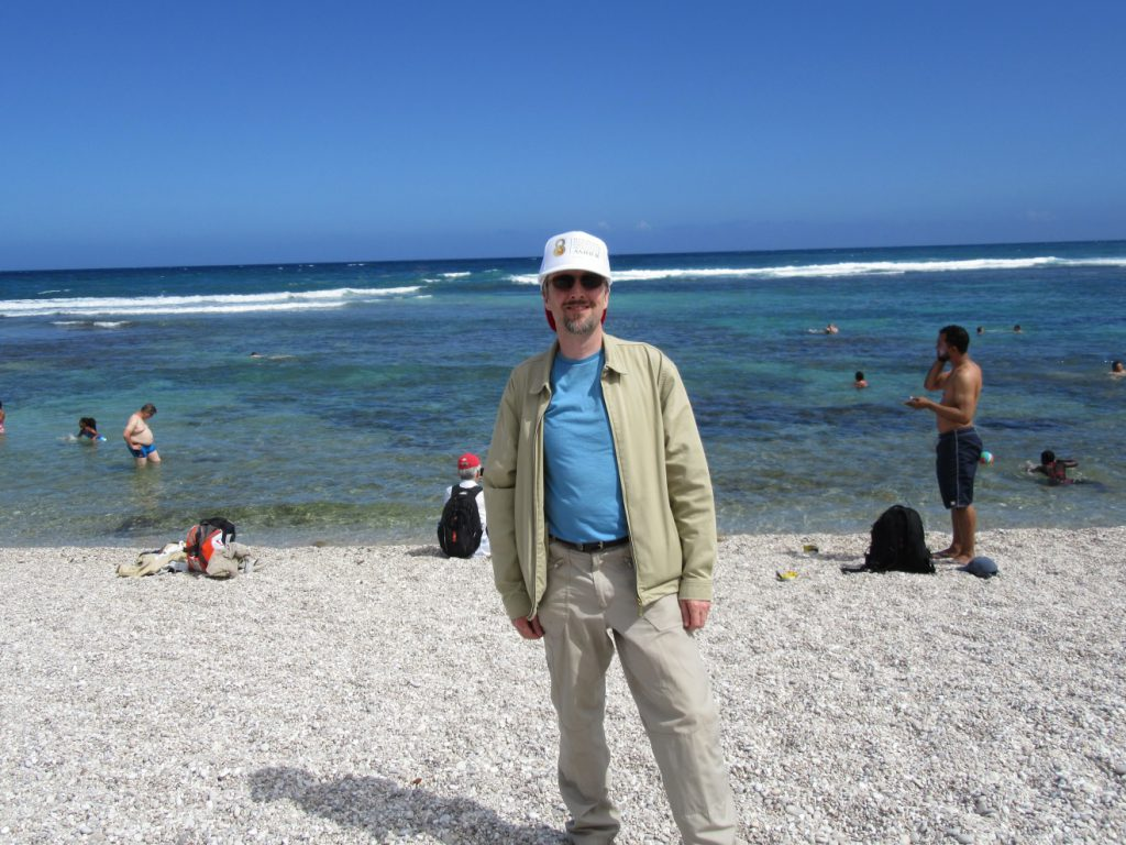 Andy - the most overdressed person on a sweltering Caribbean beach!