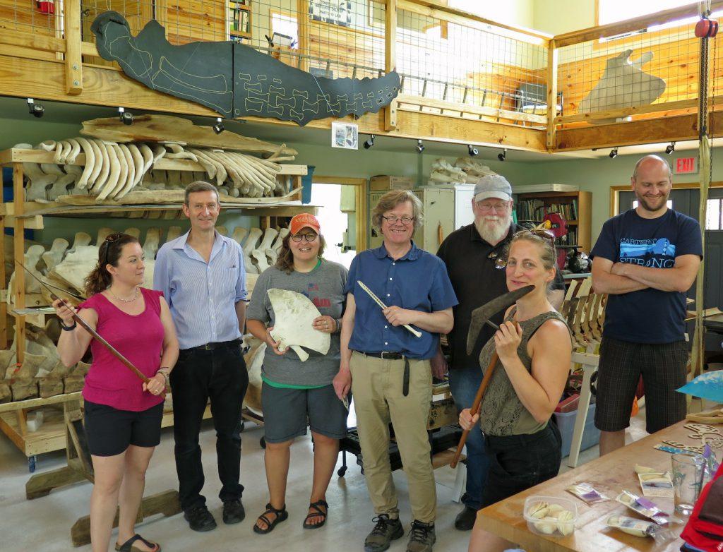At Bonehenge looking at bones and old whaling equipment