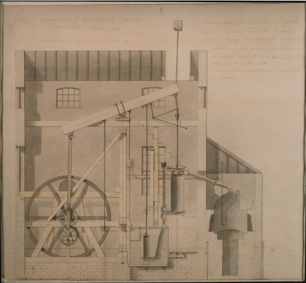 Drawing of the rotative beam engine from Barclay and Perkins Brewery, London, 1786