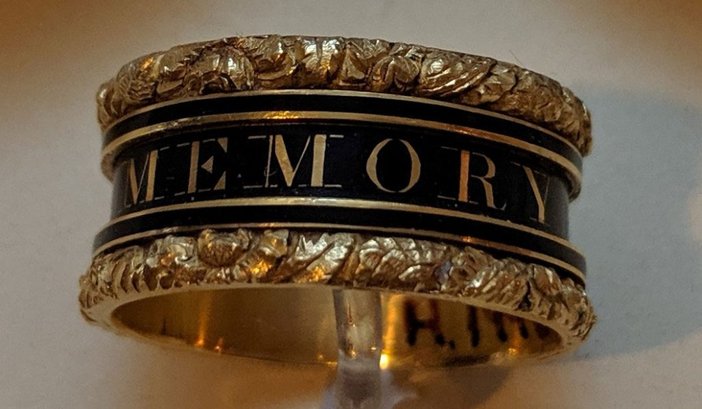 Mourning ring made in Watt's memory, on display in the Innovators gallery on Level 5 of the National  Museum of Scotland.