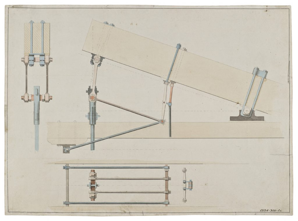 An original drawing of a Boulton and Watt engine showing a side elevation of the cylinder end of the working beam and the parallel motion, c1795.
