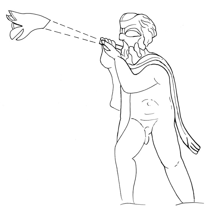 Drawing of a carnyx being played at a 45 degree angle