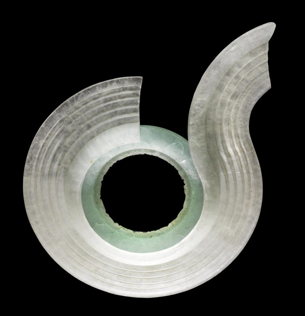 Glass sculpture entitled Form after conservation