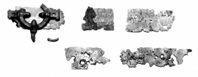 Bucket fragments found in a Viking grave on the island of Eigg.