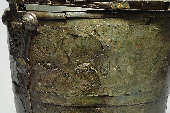 Detail of a decorated bucket from Sweden
