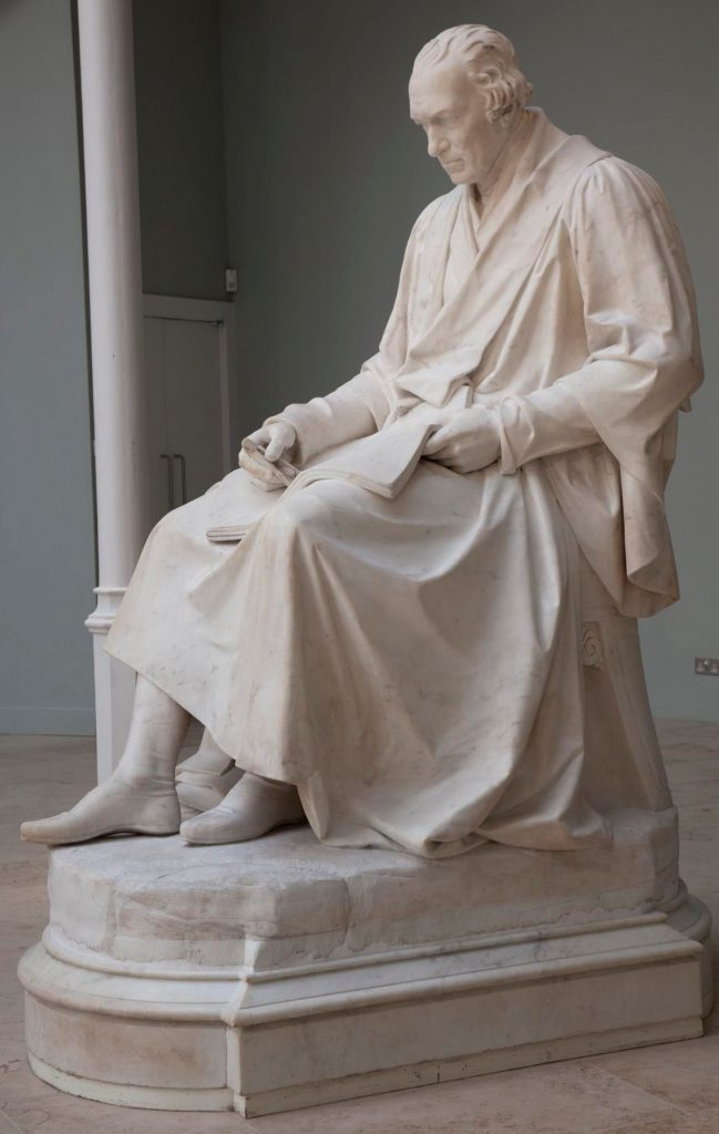 Statue of James Watt by Sir Francis Legatt Chantrey, on loan from Heriot-Watt University Museum and Archive.