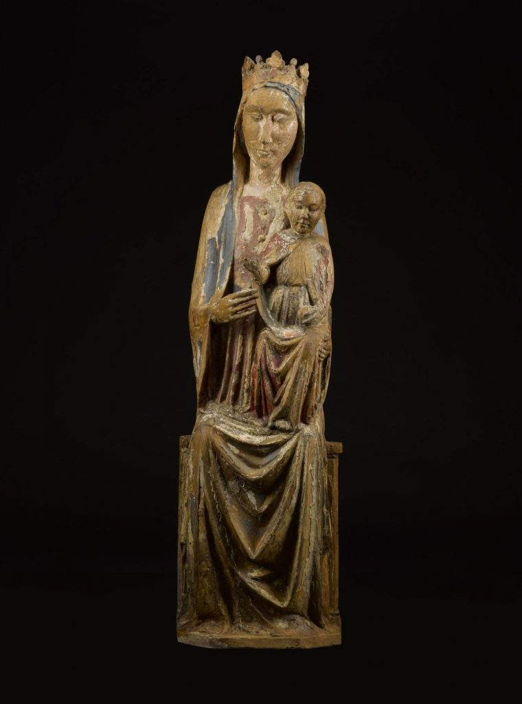 Sculpture of the Madonna and Child, made from wood and painted